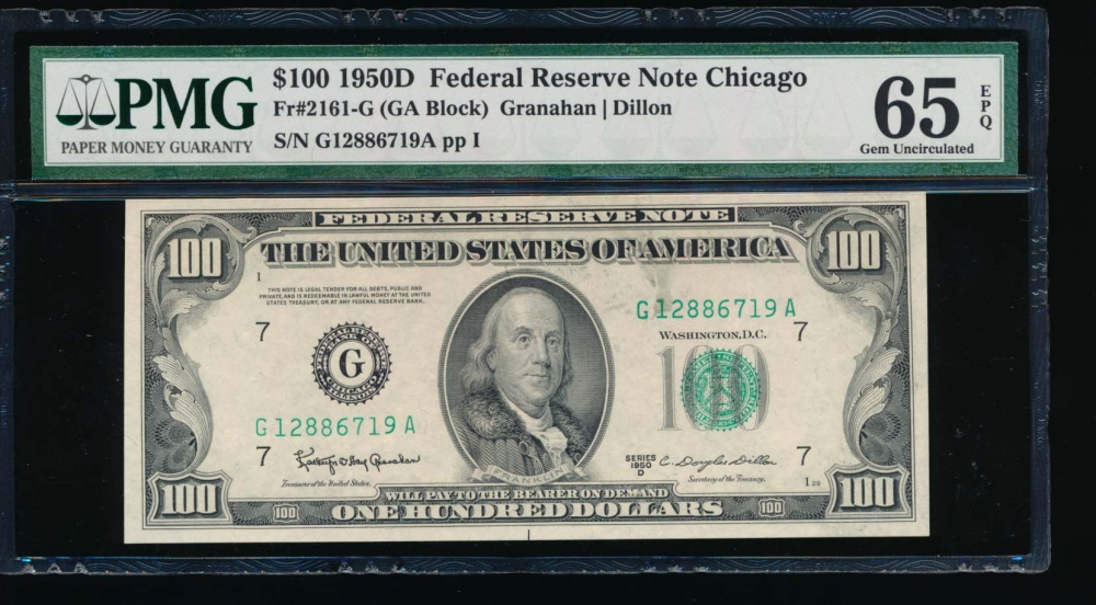 Fr. 2161-G 1950D $100  Federal Reserve Note Chicago PMG 65EPQ G12886719A