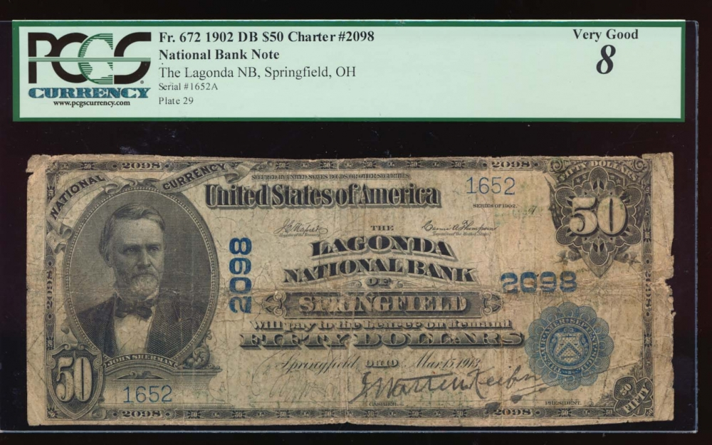 Fr. 672 1902 $50  National: Date Back Ch #2098 The Logonda National Bank of Springfield, Ohio PCGS 8 comment 1652 obverse