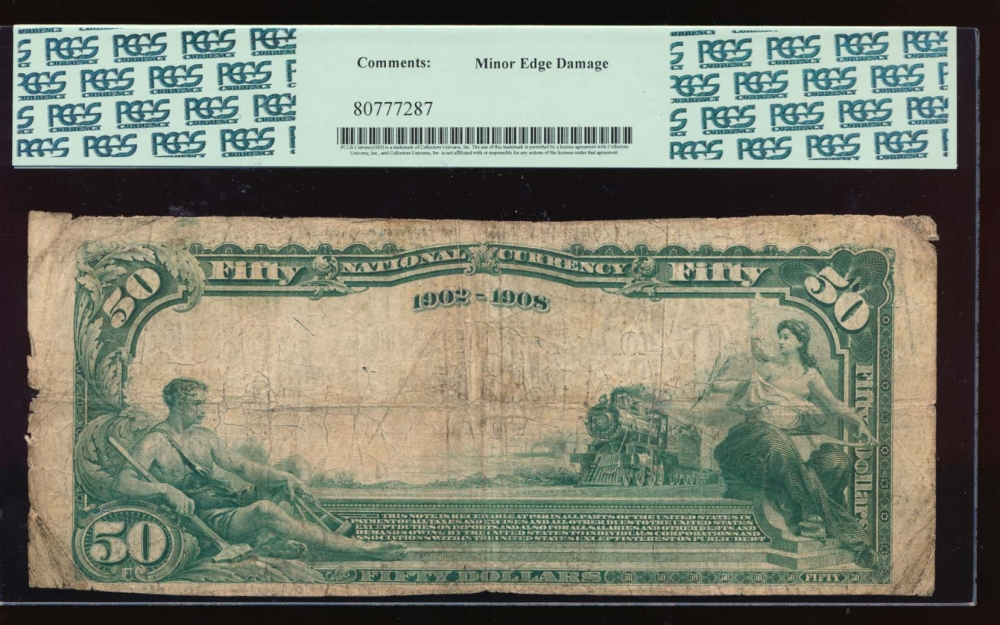 Fr. 672 1902 $50  National: Date Back Ch #2098 The Logonda National Bank of Springfield, Ohio PCGS 8 comment 1652 reverse