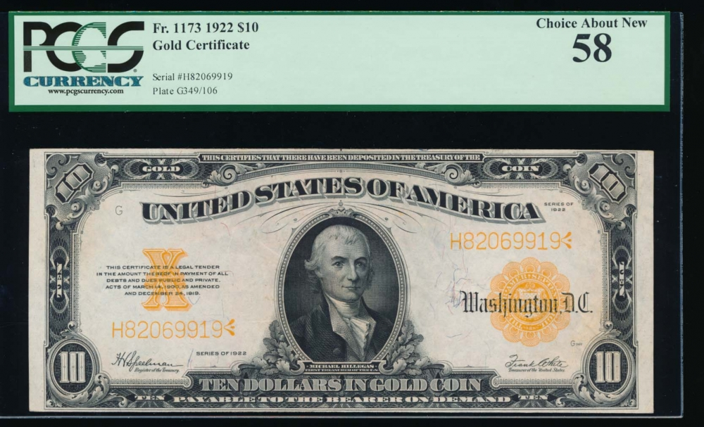 Fr. 1173 1922 $10  Gold Certificate  PCGS 58 H82069919