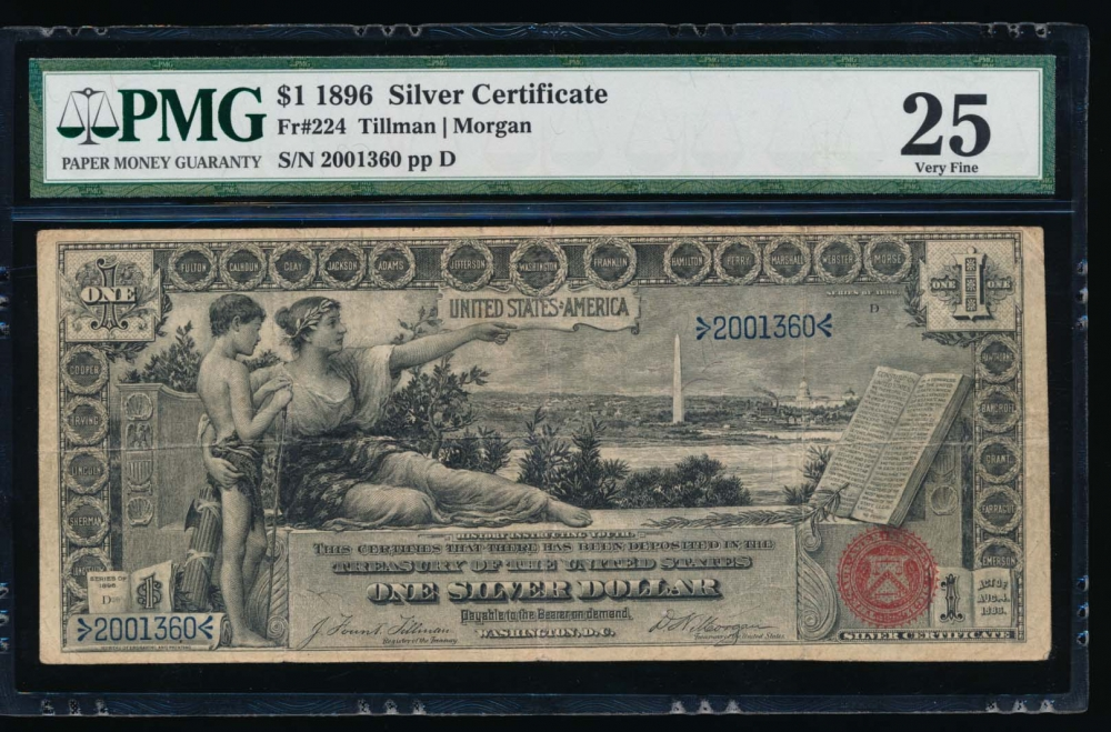 Fr. 224 1896 $1  Silver Certificate  PMG 25 2001360