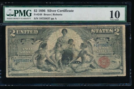 Fr. 248 1896 $2  Silver Certificate  PMG 10 18735637