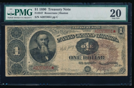 Fr. 347 1890 $1  Treasury Note  PMG 20 A2073851