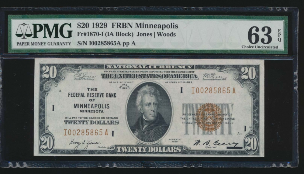 Fr. 1870-I 1929 $20  FRBN Minneapolis PMG 63EPQ I00285865A