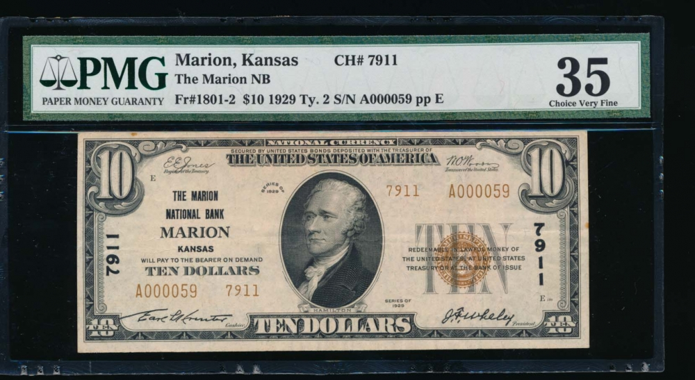 Fr. 1801-2 1929 $10  National: Type II Ch #7911 The Marion National Bank Marion, Kansas PMG 35 A000059