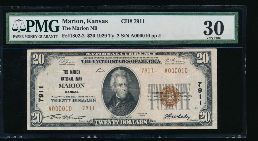 Fr. 1802-2 1929 $20  National: Type II Ch #7911 The Marion National Bank Marion, Kansas PMG 30 A000010