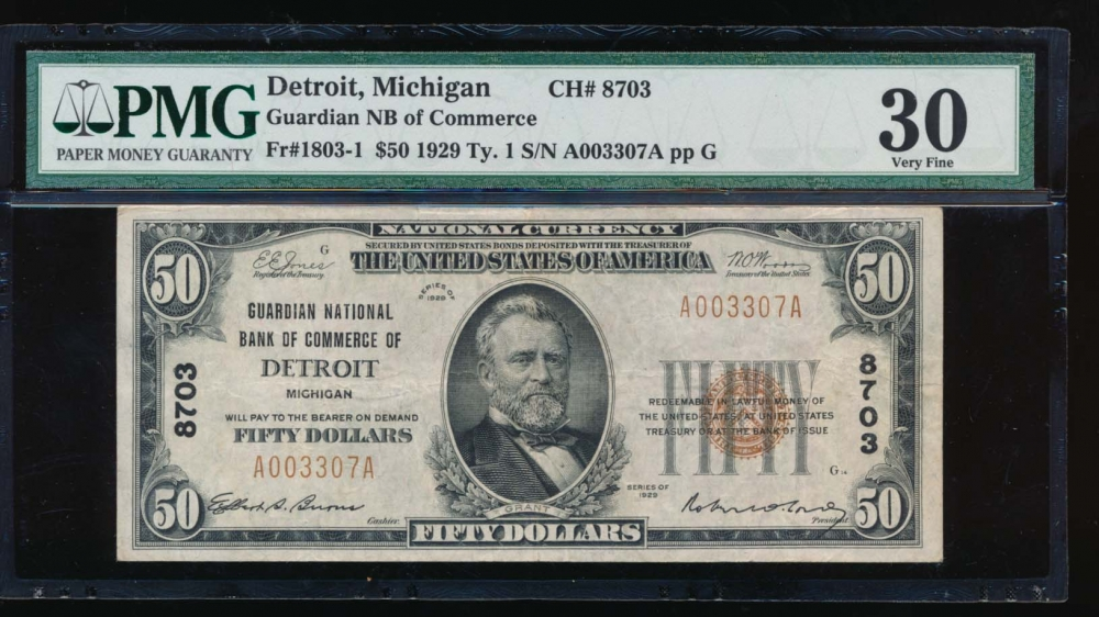 Fr. 1803-1 1929 $50  National: Type I Ch #8703 Guardian National Bank of Commerce of Detriot, Michigan PMG 30 A0003307A