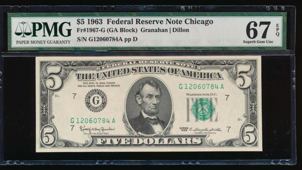 Fr. 1967-G 1963 $5  Federal Reserve Note Chicago PMG 67EPQ G12060784A