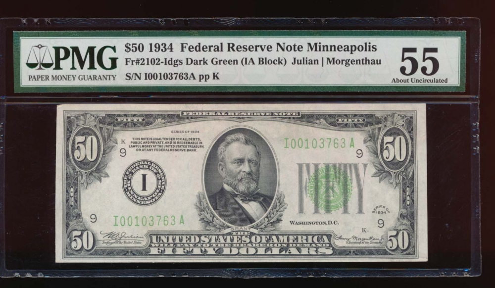 Fr. 2102-I 1934 $50  Federal Reserve Note Minneapolis PMG 55 I00103763A