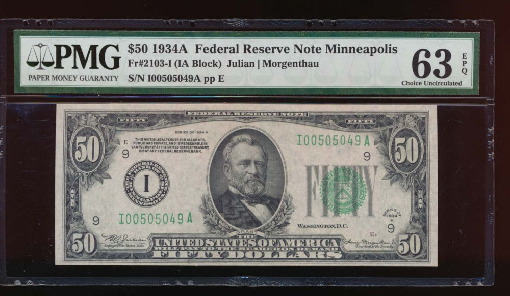 Fr. 2103-I 1934A $50  Federal Reserve Note Minneapolis PMG 63EPQ I00505049A