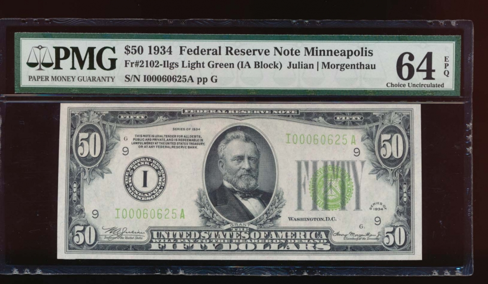 Fr. 2102-I 1934 $50  Federal Reserve Note Minneapolis LGS PMG 64EPQ I00060625A