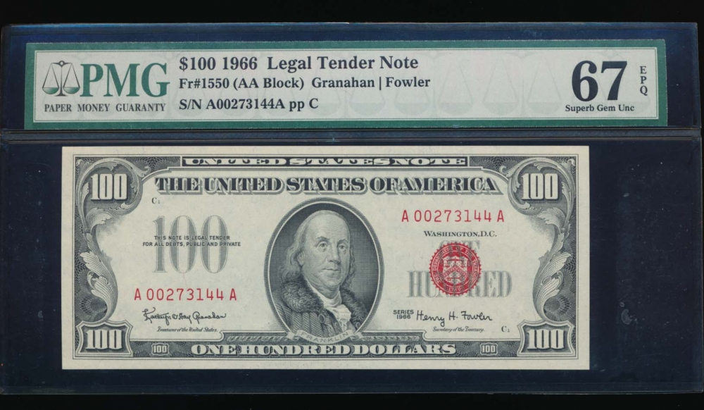 Fr. 1550 1966 $100  Legal Tender  PMG 67EPQ A00273144A