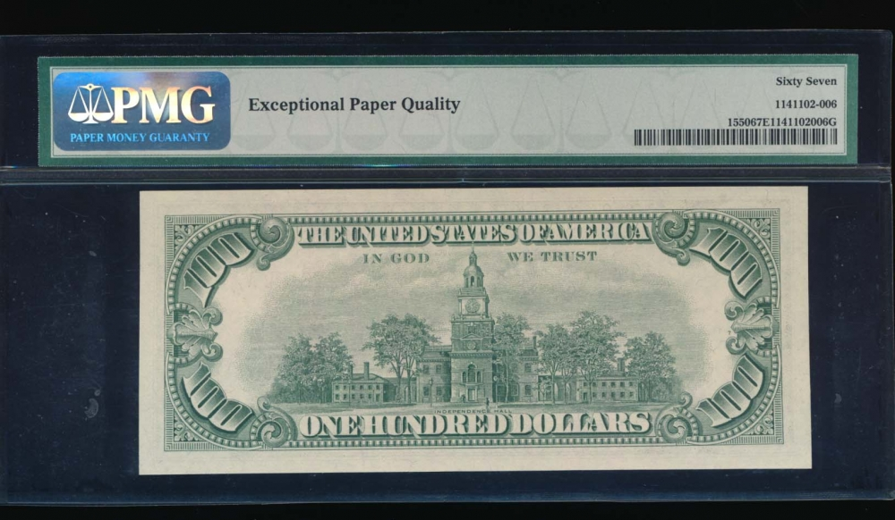 Fr. 1550 1966 $100  Legal Tender  PMG 67EPQ A00273144A reverse