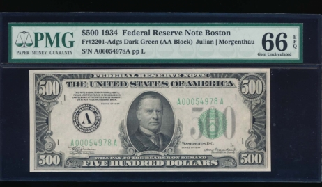 Fr. 2201-A 1934 $500  Federal Reserve Note Boston PMG 66EPQ A00054978A