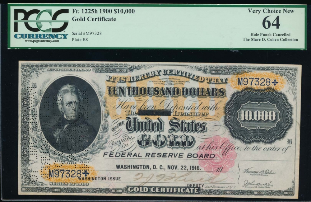 Fr. 1225h 1900 $10,000  Gold Certificate  PCGS 64 comment M97328 obverse