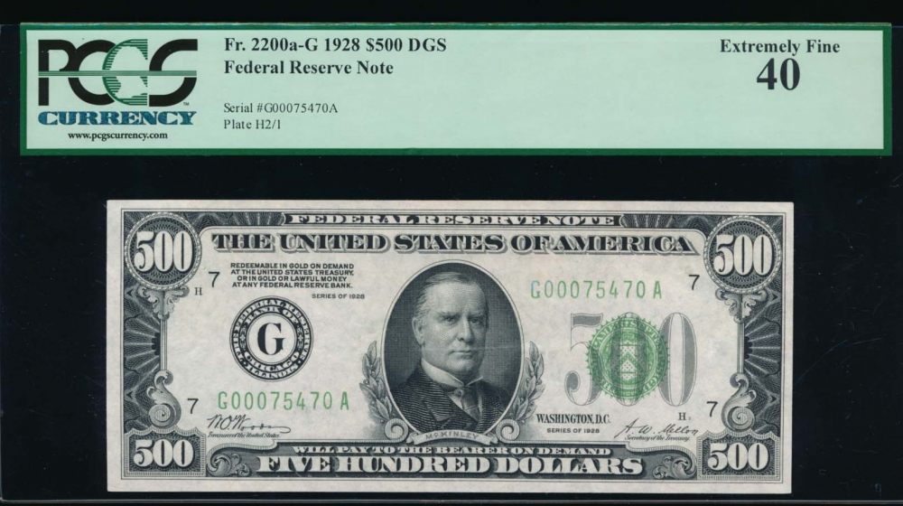 Fr. 2200-G 1928 $500  Federal Reserve Note Chicago PCGS 40 G0075470A