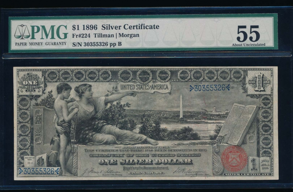 Fr. 224 1896 $1  Silver Certificate  PMG 55 30355326