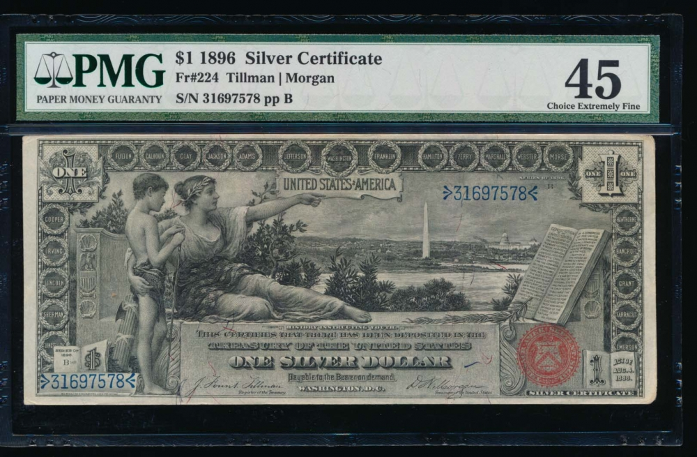 Fr. 224 1896 $1  Silver Certificate  PMG 45 31697578 obverse