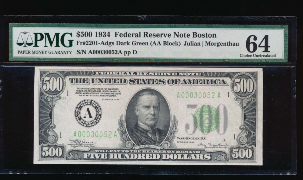 Fr. 2201-A 1934 $500  Federal Reserve Note Boston PMG 64 A00030052A