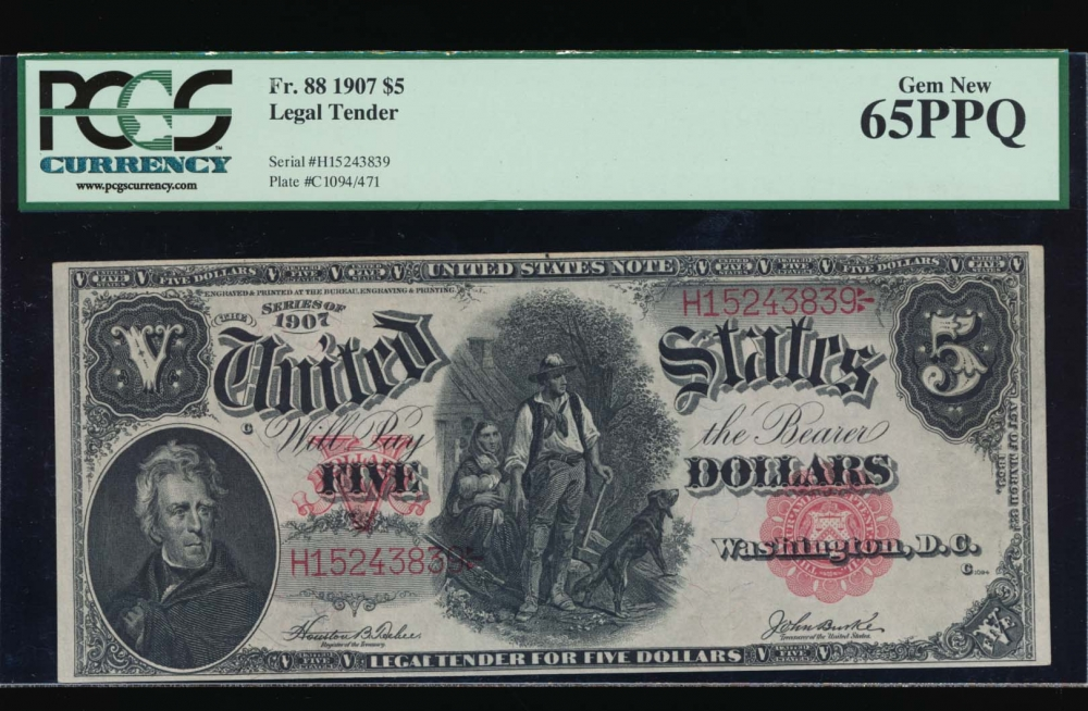 Fr. 88 1907 $5  Legal Tender  PCGS 65PPQ H152438239