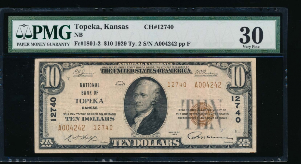 Fr. 1801-2 1929 $10  National: Type II Ch #12740 National Bank of Topeka, Kansas PMG 30 A004242