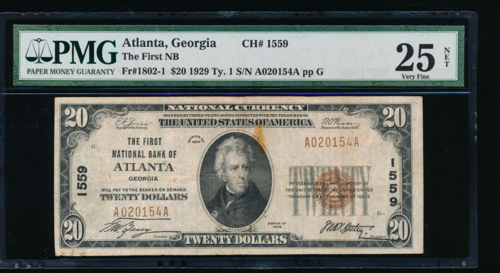 Fr. 1802-1 1929 $20  National: Type I Ch #1559 The First National Bank of Atlanta, Georgia PMG 25NET A020154A