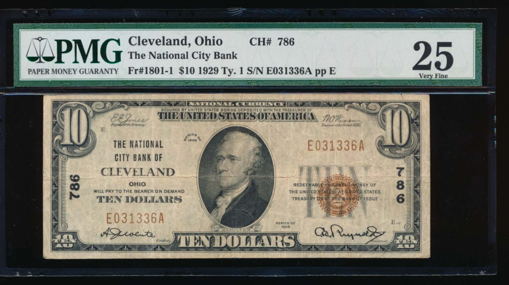 Fr. 1801-1 1929 $10  National: Type I Ch #786 The National City Bank of Cleveland, Ohio PMG 25 E031336A