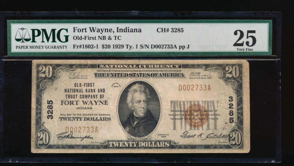 Fr. 1802-1 1929 $20  National: Type I Ch #3285 Old-First National Bank and Trust Company of Fort Wayne, Indiana PMG 25 D002733A