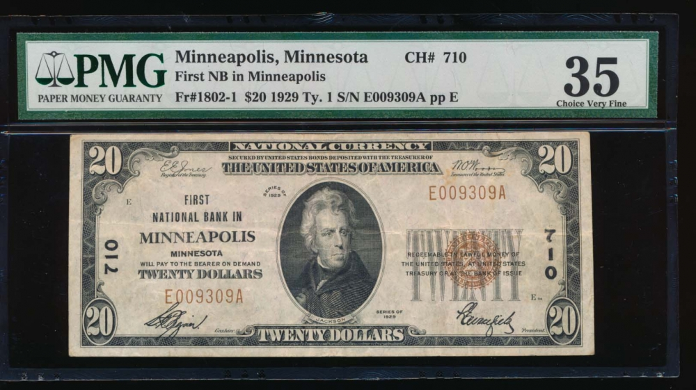 Fr. 1802-1 1929 $20  National: Type I Ch #710 First National Bank in Minneapolis, Minnesota PMG 35 E009309A