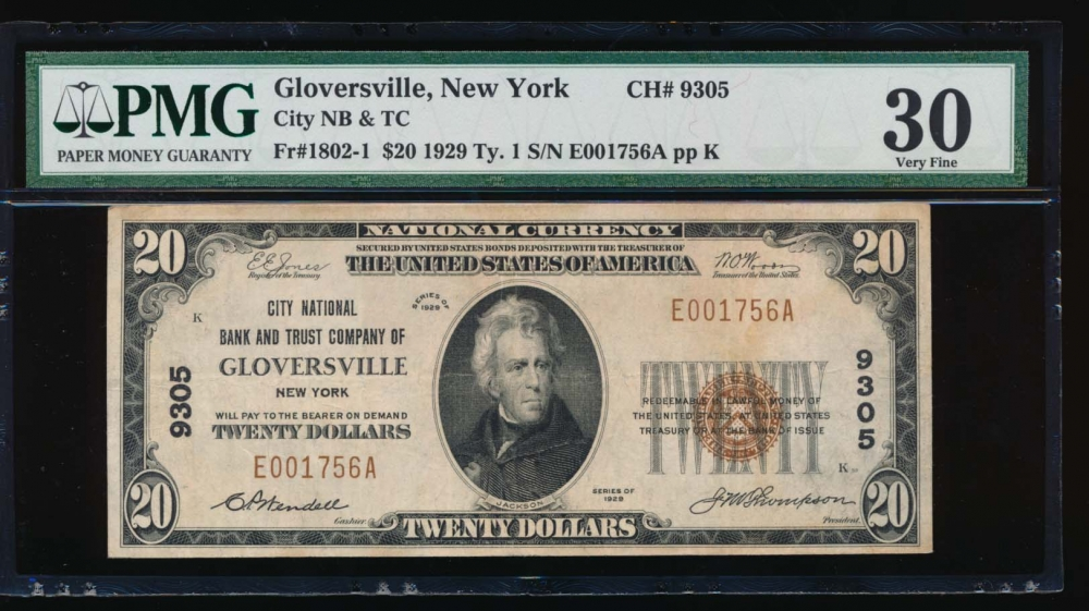 Fr. 1802-1 1929 $20  National: Type I Ch #9305 City National Bank and Trust Company of Gloversville, New York PMG 30 E001756A
