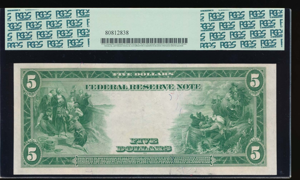 Fr. 851c 1914 $5  Federal Reserve Note New York PCGS 58PPQ B85146670D reverse