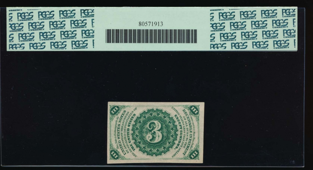 Fr. 1226  $0.03  Fractional Third Issue: Light Background PCGS 64PPQ no serial number reverse