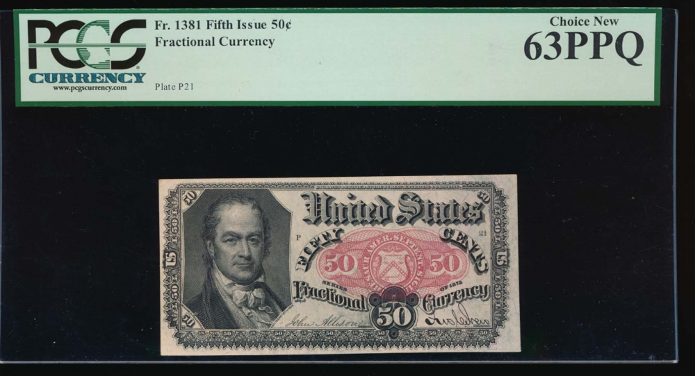Fr. 1381  $0.50  Fractional Fifth Issue: Blue Right End PCGS 63PPQ no serial number