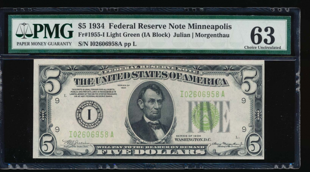 Fr. 1955-I 1934 $5  Federal Reserve Note Minneapolis LGS PMG 63 I02606958A