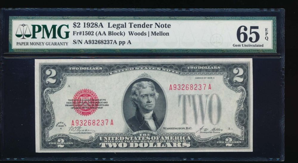 Fr. 1502 1928A $1  Legal Tender AA block PMG 65EPQ A93268237A
