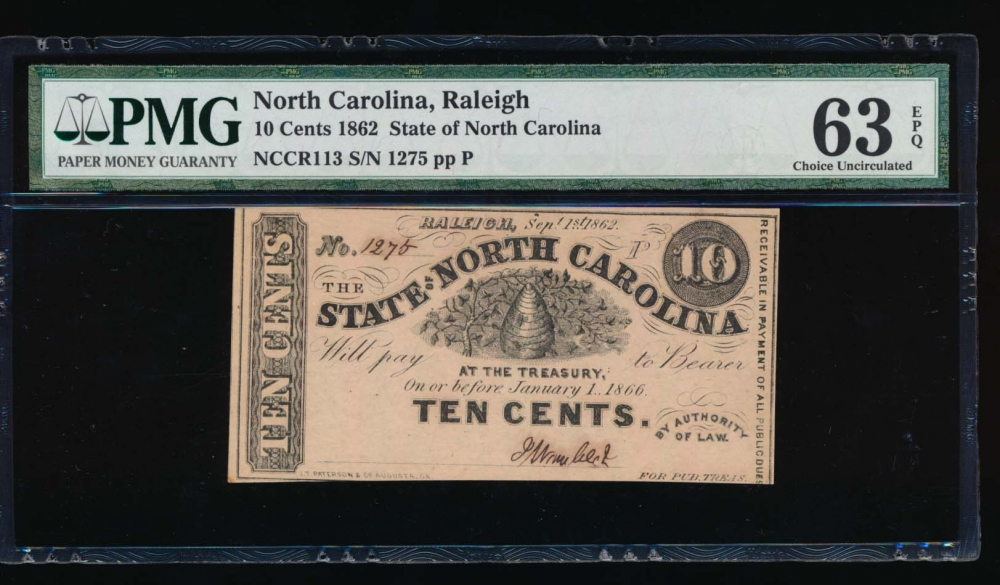 Fr. Cr NC-113 1862 $0.10  Obsolete State of North Carolina, Raleigh PMG 63EPQ 1275P