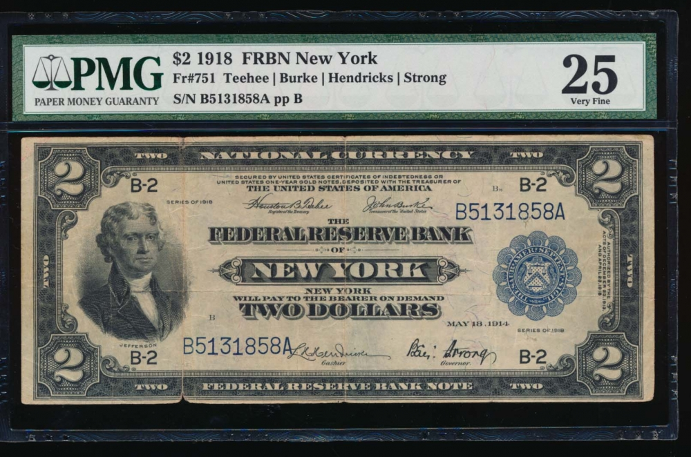 Fr. 751 1918 $2  FRBN New York PMG 25 comment B5131858A