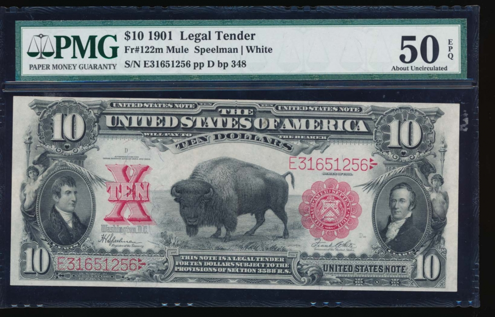 Fr. 122 1901 $10  Legal Tender  PMG 50EPQ E31651256