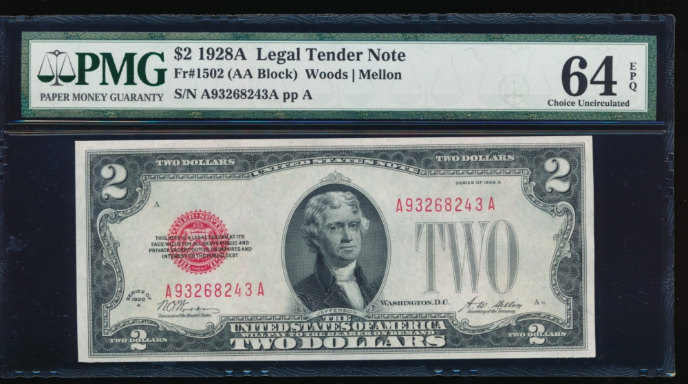 Fr. 1502 1928A $1  Legal Tender AA block PMG 64EPQ A93268243A