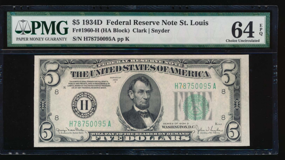 Fr. 1960-H 1934D $5  Federal Reserve Note Saint Louis PMG 64EPQ H78750095A