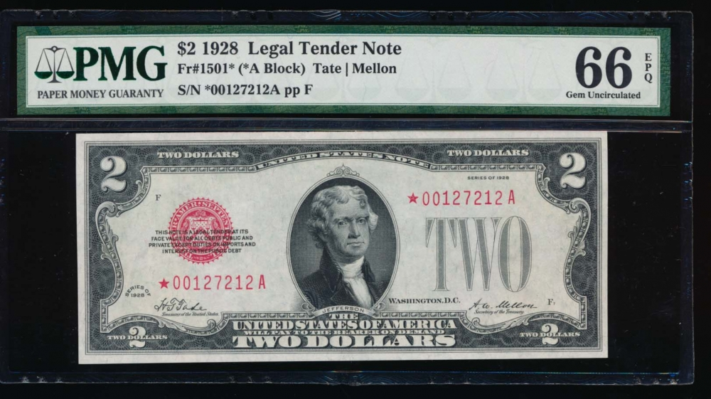 Fr. 1501 1928 $2  Legal Tender *A block PMG 66EPQ *00127212A