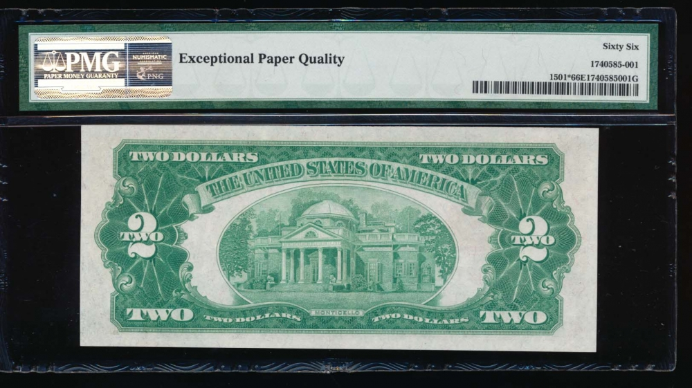 Fr. 1501 1928 $2  Legal Tender *A block PMG 66EPQ *00127212A reverse