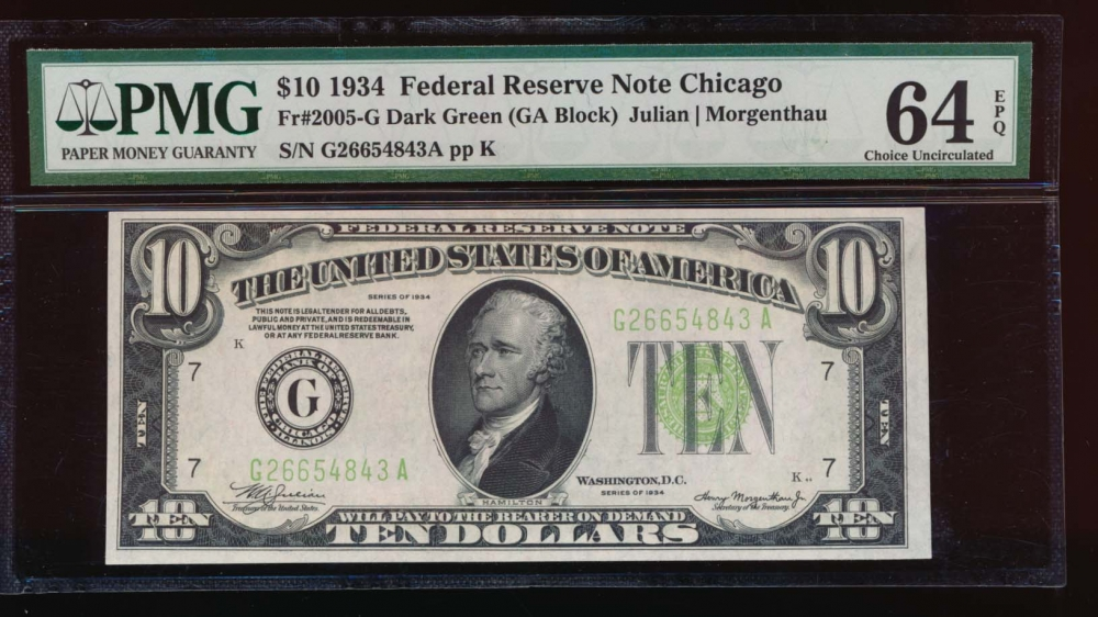 Fr. 2005-G 1934 $10  Federal Reserve Note Chicago PMG 64EPQ G26654843A