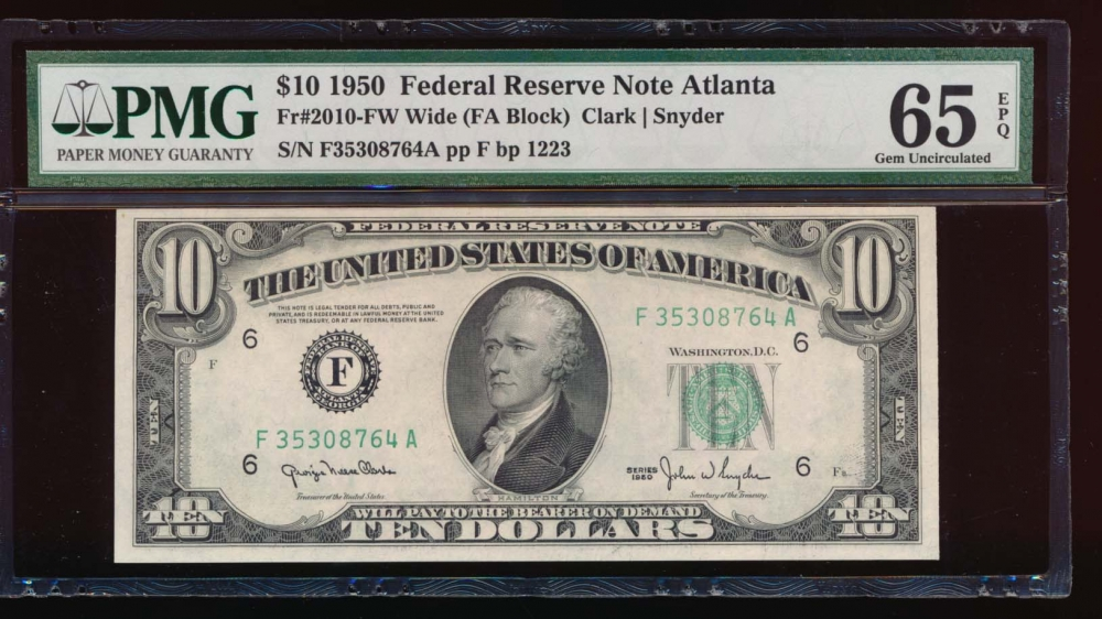 Fr. 2010-F 1950 $10  Federal Reserve Note wide Atlanta PMG 65EPQ F35308764A