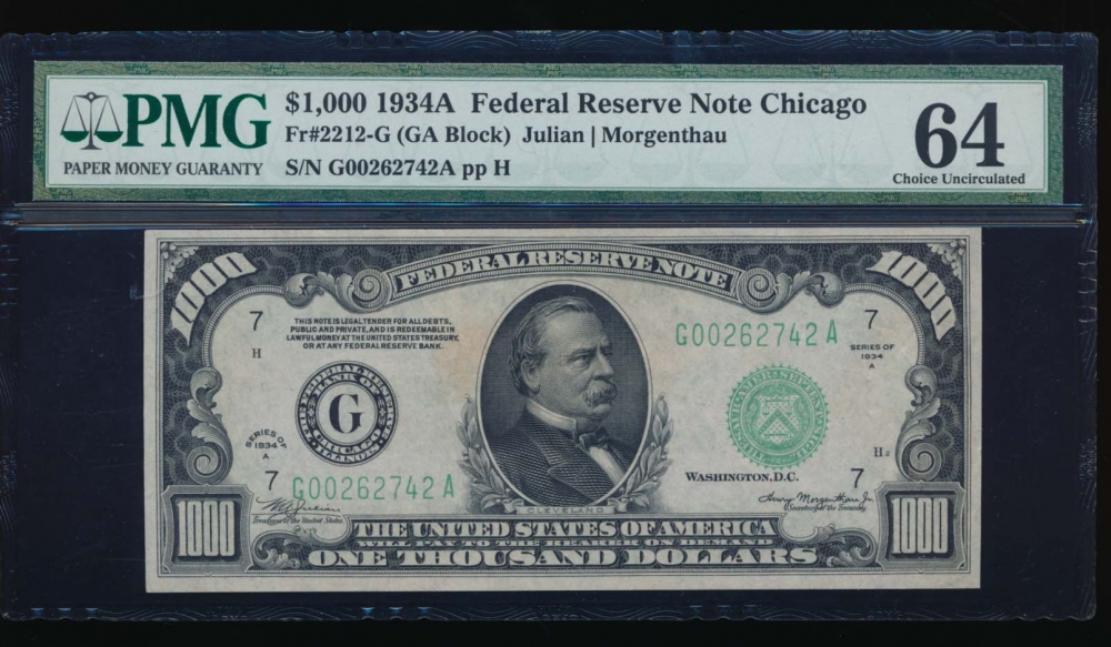 Fr. 2212-G 1934A $1,000  Federal Reserve Note Chicago PMG 64 G00262742A
