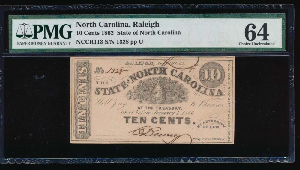 Fr. Cr NC-113 1862 $0.10  Obsolete State of North Carolina, Raleigh PMG 64 1328U