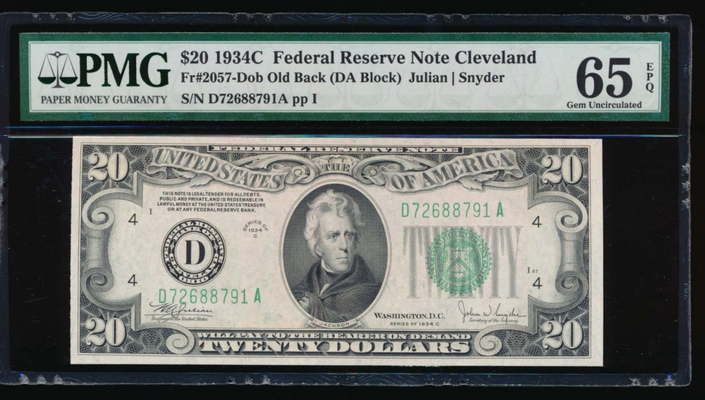 Fr. 2057-D 1934C $20  Federal Reserve Note Cleveland old back PMG 65EPQ D72688791A