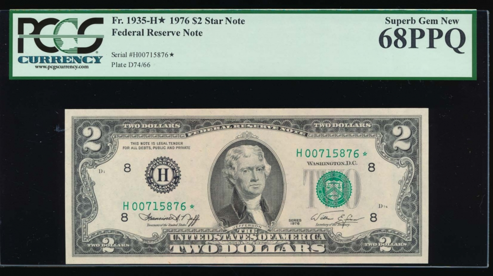 Fr. 1935-H* 1976 $2  Federal Reserve Note Saint Louis star PCGS 68PPQ H00715876*