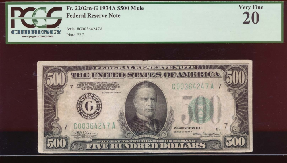 Fr. 2202-G 1934 $500  Federal Reserve Note Chicago PCGS 20 G00364247A
