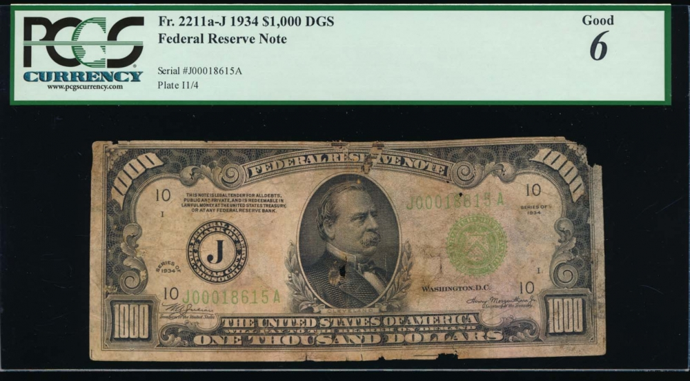 Fr. 2211-J 1934 $1,000  Federal Reserve Note Kansas City PCGS 6 comment J00018615A